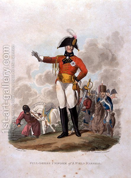Full Dress Uniform of a Field Marshal, from Costumes of the Army of the British Empire, according to the last regulations 1812, engraved by J.C. Stadler, published by Colnaghi and Co. 1812-15 by Charles Hamilton Smith - Reproduction Oil Painting