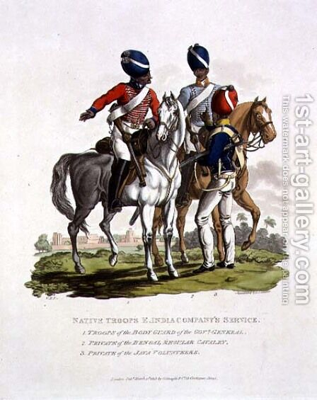 Native Troops in the East India Companys Service a Trooper of the Body Guard of the Governor General, a Private of the Bengal Regular Cavalry and a Private of the Java Voluntary, engraved by Joseph Constantine Stadler, 1815 by Charles Hamilton Smith - Reproduction Oil Painting