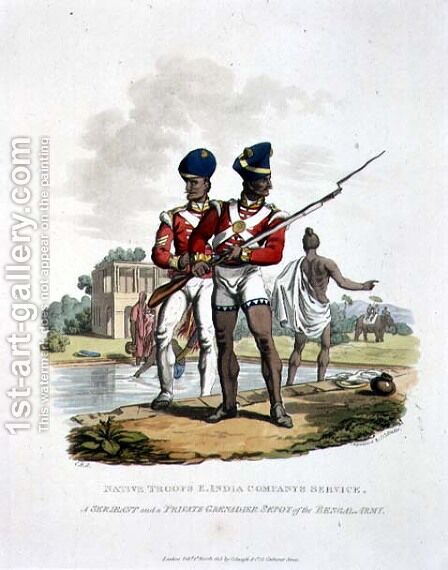 Native Troops in the East India Companys Service a Sergeant and a Private Grenadier Sepoy of the Bengal Army, engraved by Joseph Constantine Stadler, 1815 by Charles Hamilton Smith - Reproduction Oil Painting