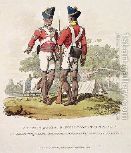 Native Troops in the East India Companys Service a Sergeant of Light Infantry and a Private of the Madras Sepoys, engraved by Joseph Constantine Stadler, 1815 by Charles Hamilton Smith - Reproduction Oil Painting