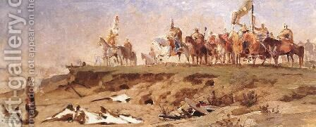 Conquest, first sketch 1891 by Arpad Feszty - Reproduction Oil Painting