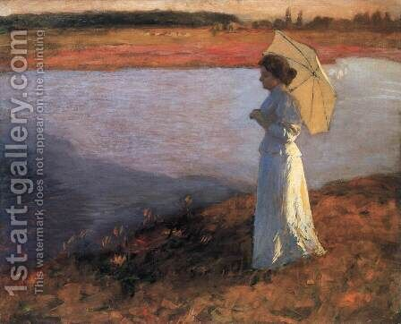 Woman by the Water 1897 by Bela Ivanyi Grunwald - Reproduction Oil Painting