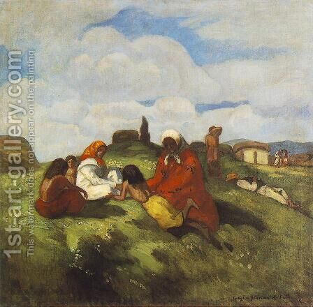 Gipsies on the Field c. 1905 by Bela Ivanyi Grunwald - Reproduction Oil Painting