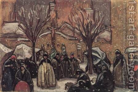 Market of Kecskemet in Winter 1911 by Bela Ivanyi Grunwald - Reproduction Oil Painting