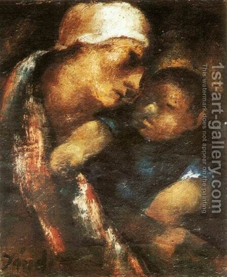 Mother and Child 1922 by David Jandi - Reproduction Oil Painting