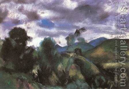 Stormy Landscape 1925 by David Jandi - Reproduction Oil Painting