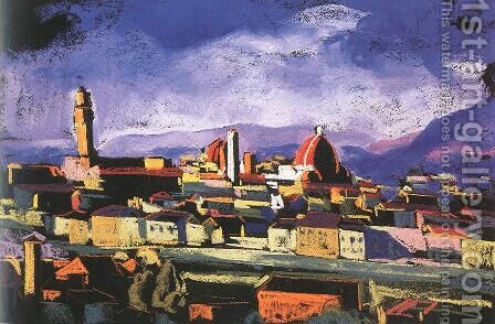 View of Florence 1928 by David Jandi - Reproduction Oil Painting
