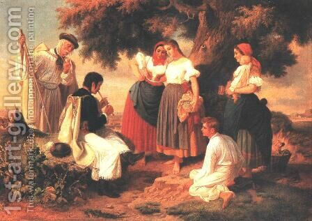 Genesis of the Hungarian Folk-song 1860 by Janos Janko - Reproduction Oil Painting