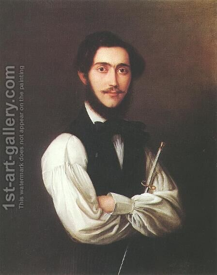 Portrait of Ferenc Friedrich 1837 by Jakab Marastoni - Reproduction Oil Painting