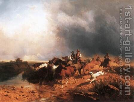 Italian Landscape with Galoping Horses 1871 by Andras Marko - Reproduction Oil Painting