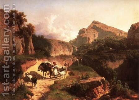 Italian Landscape with Sheperdess 1875 by Andras Marko - Reproduction Oil Painting