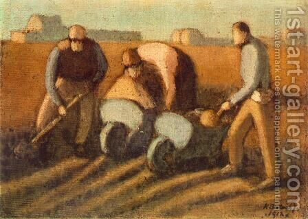 Navvies with Barrow 1912 by Janos Nagy Balogh - Reproduction Oil Painting