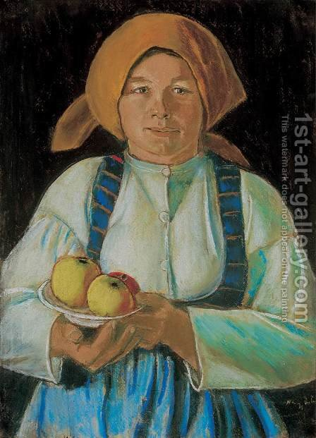 Young Woman Holding Apples 1934 by Istvan Nagy - Reproduction Oil Painting
