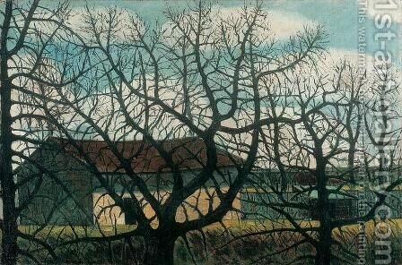 Bald Trees with Houses 1911 by Istvan Nagy - Reproduction Oil Painting