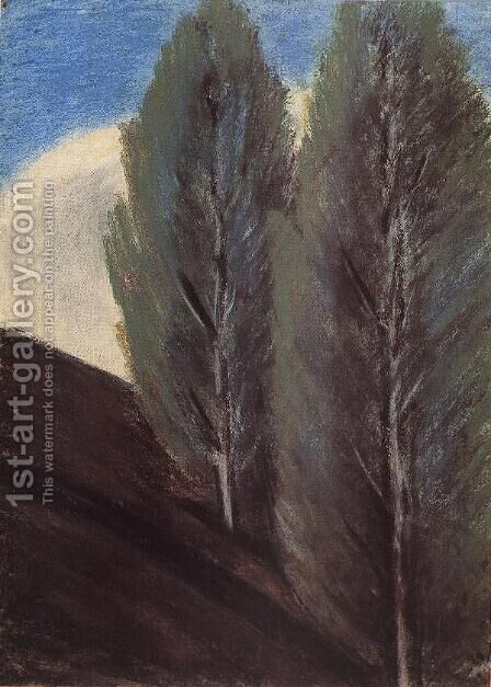 Hillside with Poplars 1927 by Istvan Nagy - Reproduction Oil Painting