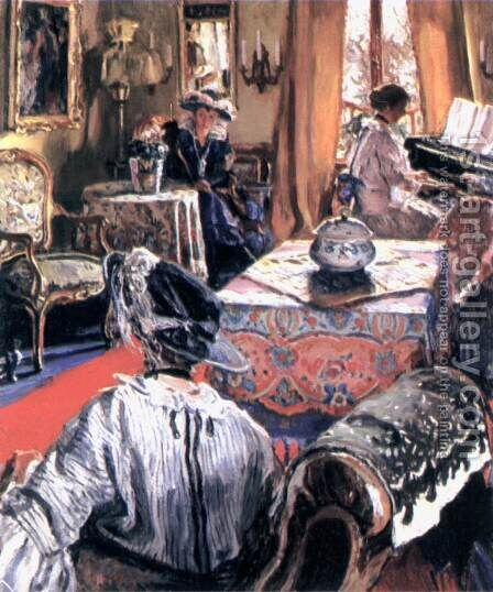 In the Salon by Izsak Perlmutter - Reproduction Oil Painting