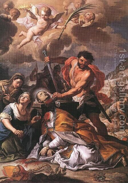 Martyrdom of Saint Januarius 1727 by Girolamo Pesce - Reproduction Oil Painting