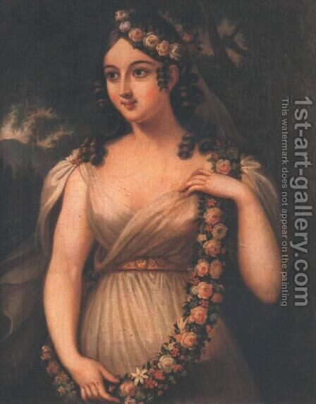 Spring Flora, May c. 1830 by Janos Rombauer - Reproduction Oil Painting