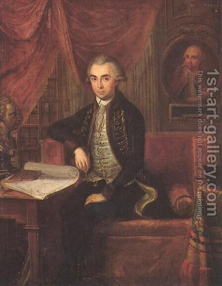 Portrait of Samuel Teleki 1787 by Janos Marton Stock - Reproduction Oil Painting
