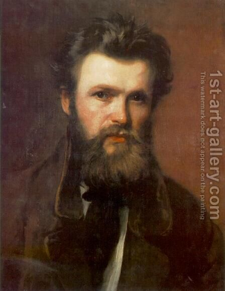 Portrait of Miklos Izso 1860s by Bertalan Szekely - Reproduction Oil Painting