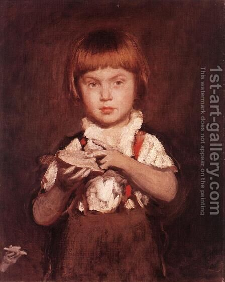 Boy with Bread and Butter c.1875 by Bertalan Szekely - Reproduction Oil Painting
