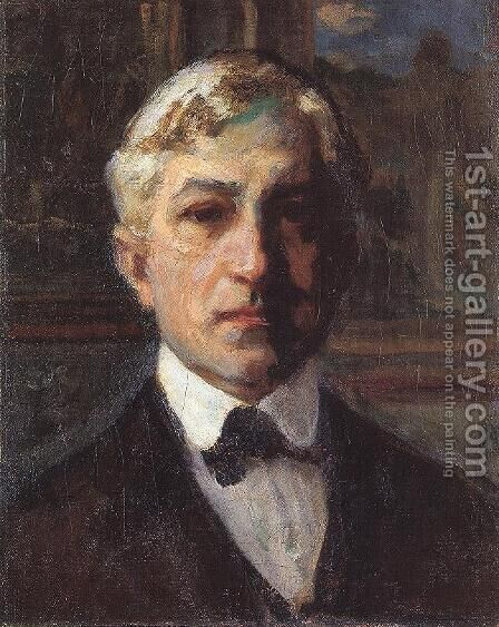 Selt-portrait c. 1910 by Janos Thorma - Reproduction Oil Painting