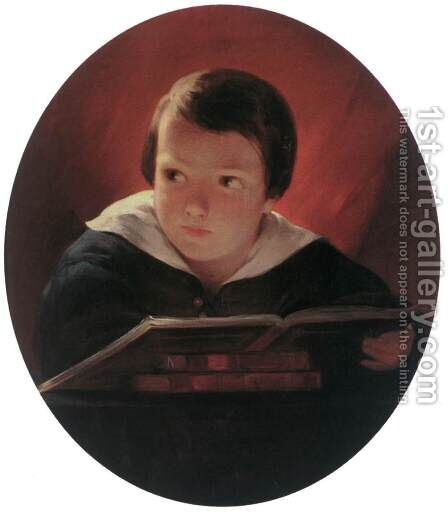 Boy Reading 1843 by Albert Tikos - Reproduction Oil Painting