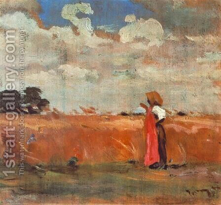Wheatland with Woman of Shawl 1912 by Janos Tornyai - Reproduction Oil Painting