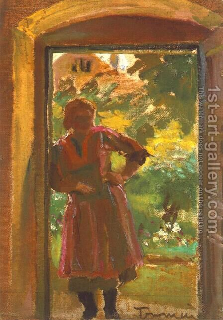 Woman Standing in a Door 1933-34 by Janos Tornyai - Reproduction Oil Painting