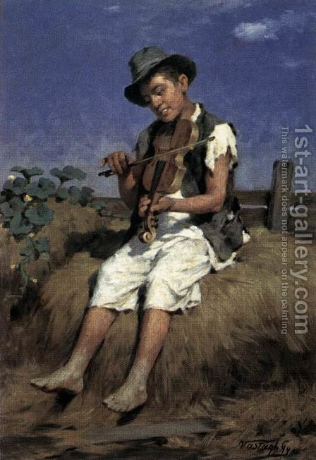Fiddler Gypsy Boy by Gyorgy the Elder Vastagh - Reproduction Oil Painting