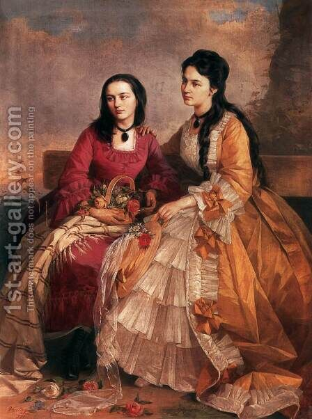 Sisters 1871 by Gyorgy the Elder Vastagh - Reproduction Oil Painting