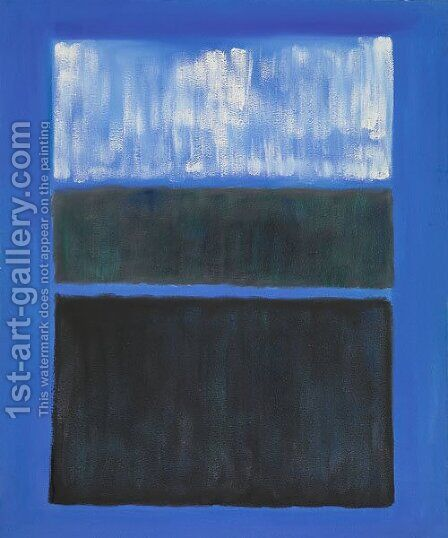 White and Black in Blue by Mark Rothko (inspired by) - Reproduction Oil Painting