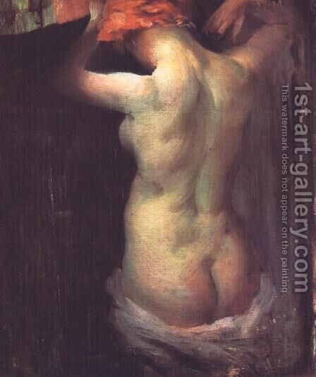 Standing Nude c. 1900 by Janos Vaszary - Reproduction Oil Painting