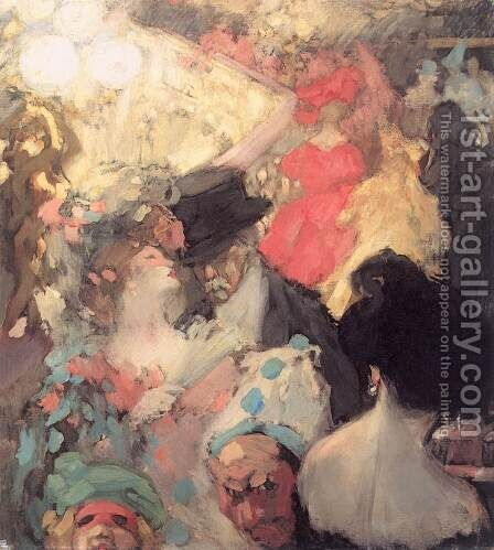 Fancy-dress Ball 1907 by Janos Vaszary - Reproduction Oil Painting