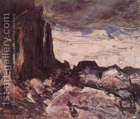 Rocky Landscape c. 1920 by Janos Vaszary - Reproduction Oil Painting
