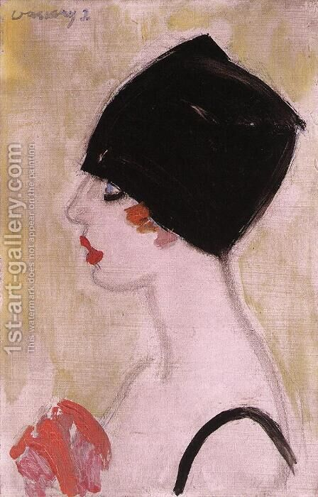 Woman in Profile with Black Turban by Janos Vaszary - Reproduction Oil Painting