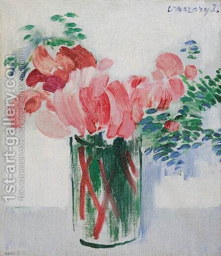 Cyclamens in a Glass 1930s by Janos Vaszary - Reproduction Oil Painting