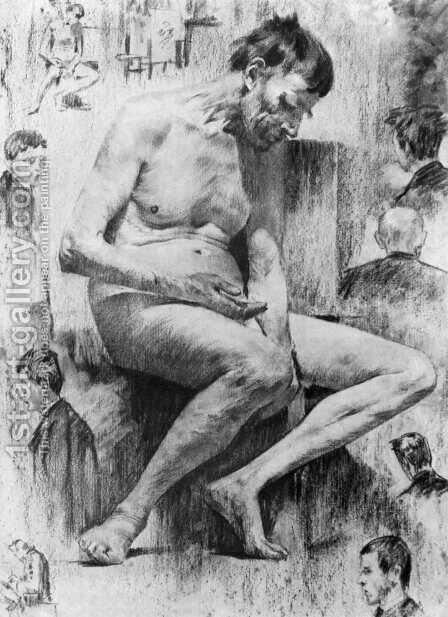 Male nude Seated 1887-88 by Janos Vaszary - Reproduction Oil Painting