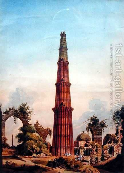 Qutb Minar, Delhi, c.1815 by J. Smith - Reproduction Oil Painting