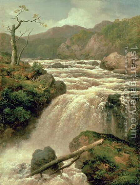 Waterfall on River Neath, South Wales by James Burrell Smith - Reproduction Oil Painting