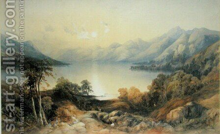 Deer by a Sunlit Lake by James Burrell Smith - Reproduction Oil Painting