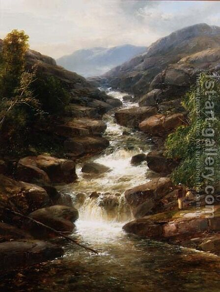 Upper Falls, Aberfeldy, 1870 by James Burrell Smith - Reproduction Oil Painting