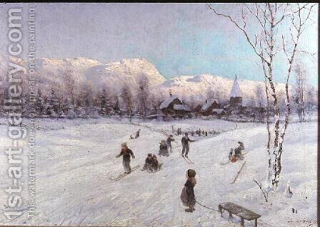 Norwegian Tobogganing Scene by A. Smith-Haigh - Reproduction Oil Painting