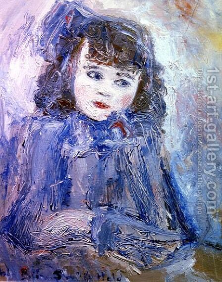 Portrait of a Girl in Blue by Bjorn Smith-Hald - Reproduction Oil Painting