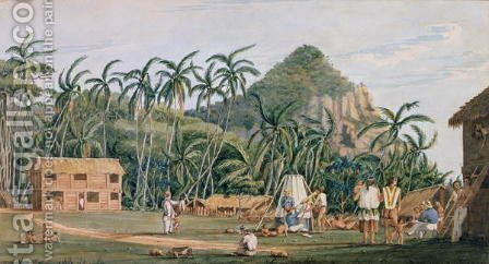 A view of the village at Pitcairn Island, December 1825 by Admiral William Henry Smyth - Reproduction Oil Painting