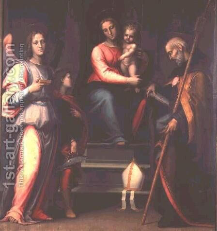 Madonna and Child with Saints Augustine, Tobias and the Archangel Raphael by Bartolommeo Sogliani - Reproduction Oil Painting