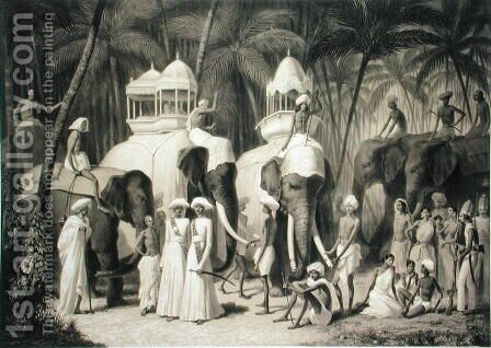 Elephants of the Raja of Travandrum, from Voyage in India, engraved by Louis Henri de Rudder 1807-81 by (after) Soltykoff, A. - Reproduction Oil Painting