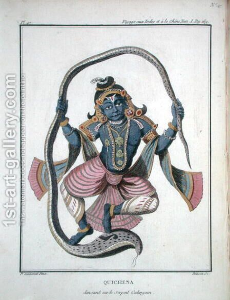 Krishna dancing on the Kaliya Serpent, from Voyage aux Indes et a la Chine by Pierre Sonnerat, engraved by Poisson, published 1782 by (after) Sonnerat, Pierre - Reproduction Oil Painting