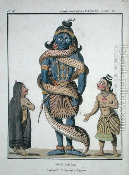 Krishna squeezed by the Kaliya Serpent, from Voyage aux Indes et a la Chine by Pierre Sonnerat, engraved by Poisson, published 1782 by (after) Sonnerat, Pierre - Reproduction Oil Painting