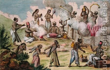 Suttee - an Indian woman burns herself with the corpse of her husband, from Voyage aux Indes, Orientales et la Chine, by Pierre Sonnerat, engraved by Poisson, published 1782 by (after) Sonnerat, Pierre - Reproduction Oil Painting
